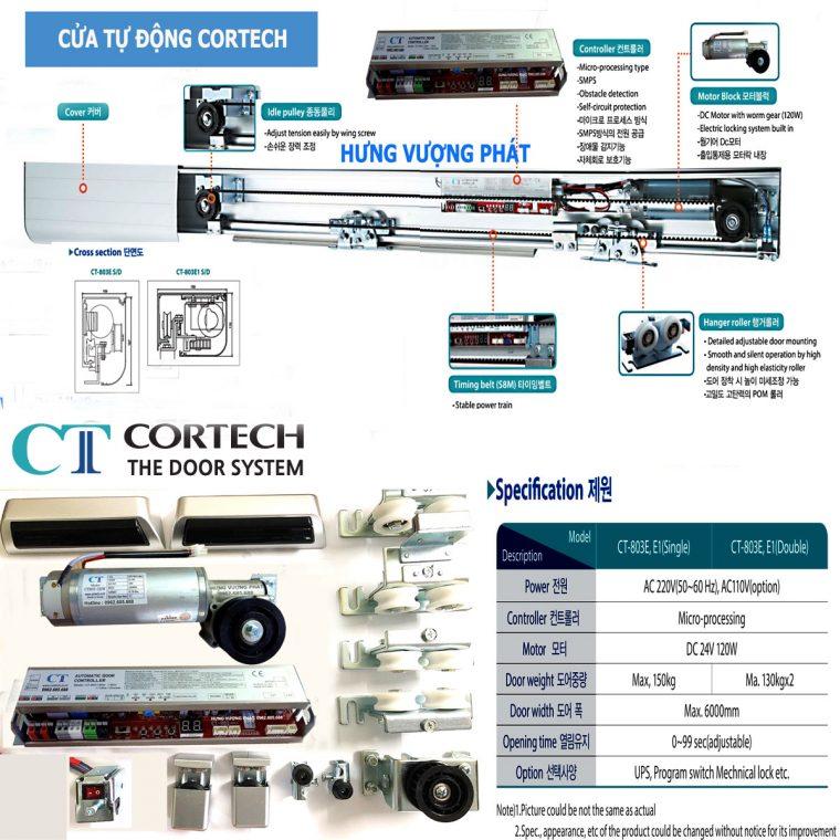 Chi tiết cấu tạo và thông số thiết bị cửa tự động Cortech Hàn Quốc