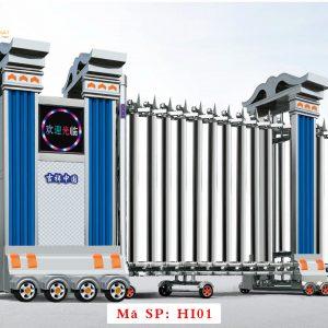Cổng xếp inox chạy điện tự động HI01