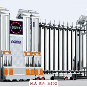 Cổng xếp inox chạy điện tự động HI02