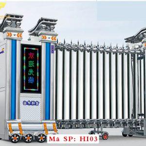 Cổng xếp inox chạy điện tự động HI03