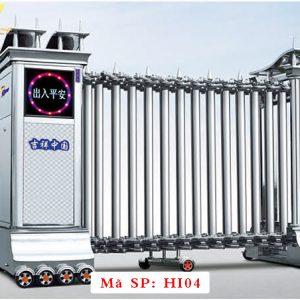 Cổng xếp inox chạy điện tự động HI04