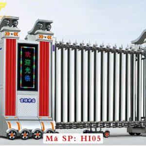 Cổng xếp inox chạy điện tự động HI05