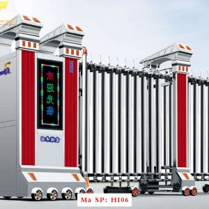 Cổng xếp inox chạy điện tự động HI06