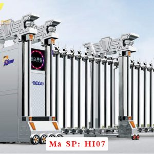 Cổng xếp inox chạy điện tự động HI07