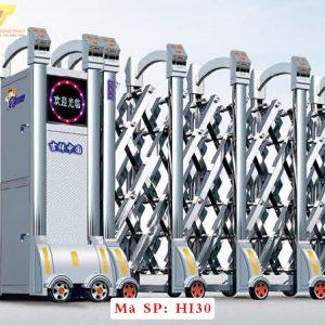 Cổng xếp inox chạy điện tự động HI30