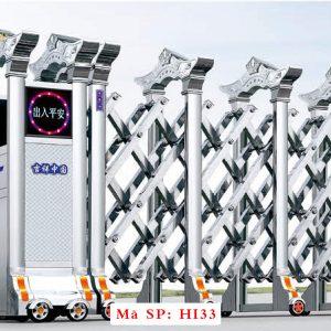 Cổng xếp inox chạy điện tự động HI33
