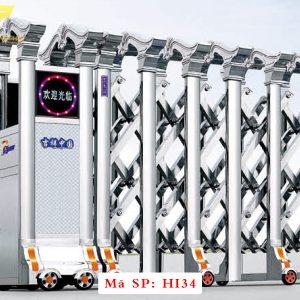 Cổng xếp inox chạy điện tự động HI34
