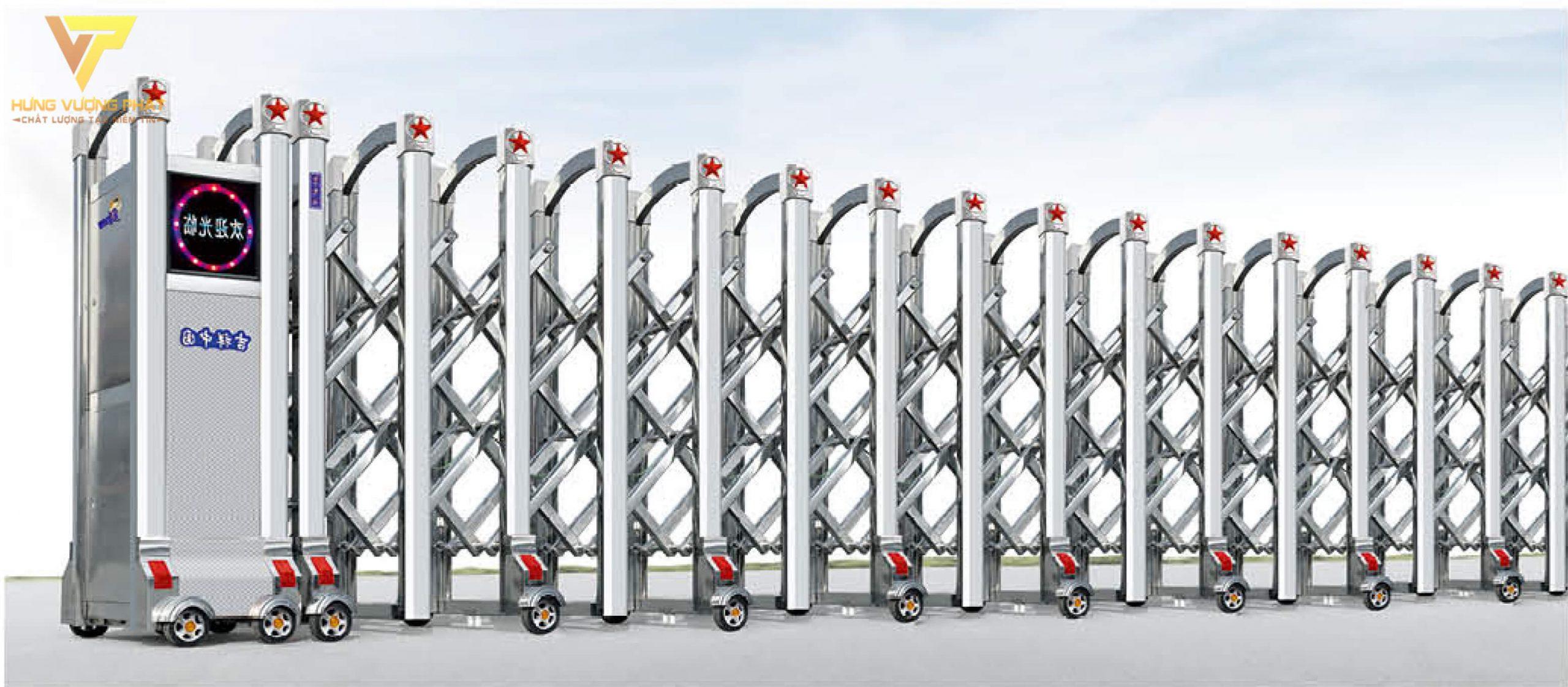 Cổng xếp inox chạy điện tự động HI35