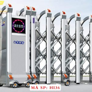 Cổng xếp inox chạy điện tự động HI36