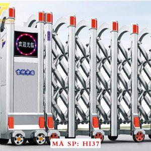 Cổng xếp inox chạy điện tự động HI37