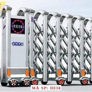 Cổng xếp inox chạy điện tự động HI38
