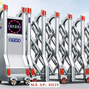 Cổng xếp inox chạy điện tự động HI39