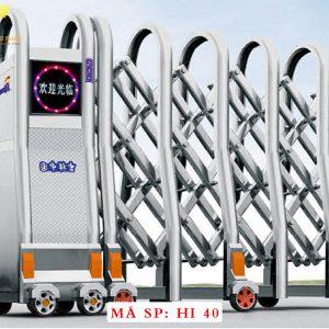 Cổng xếp inox chạy điện tự động HI40