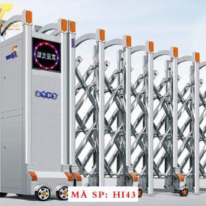 Cổng xếp inox chạy điện tự động HI43