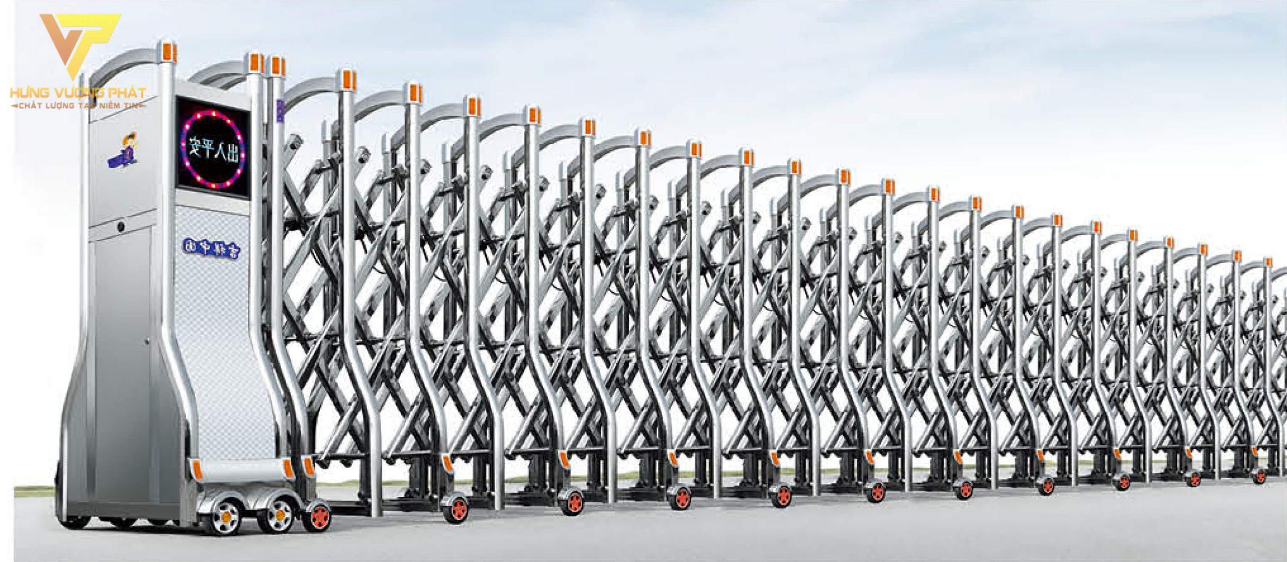Cổng xếp inox chạy điện tự động HI51