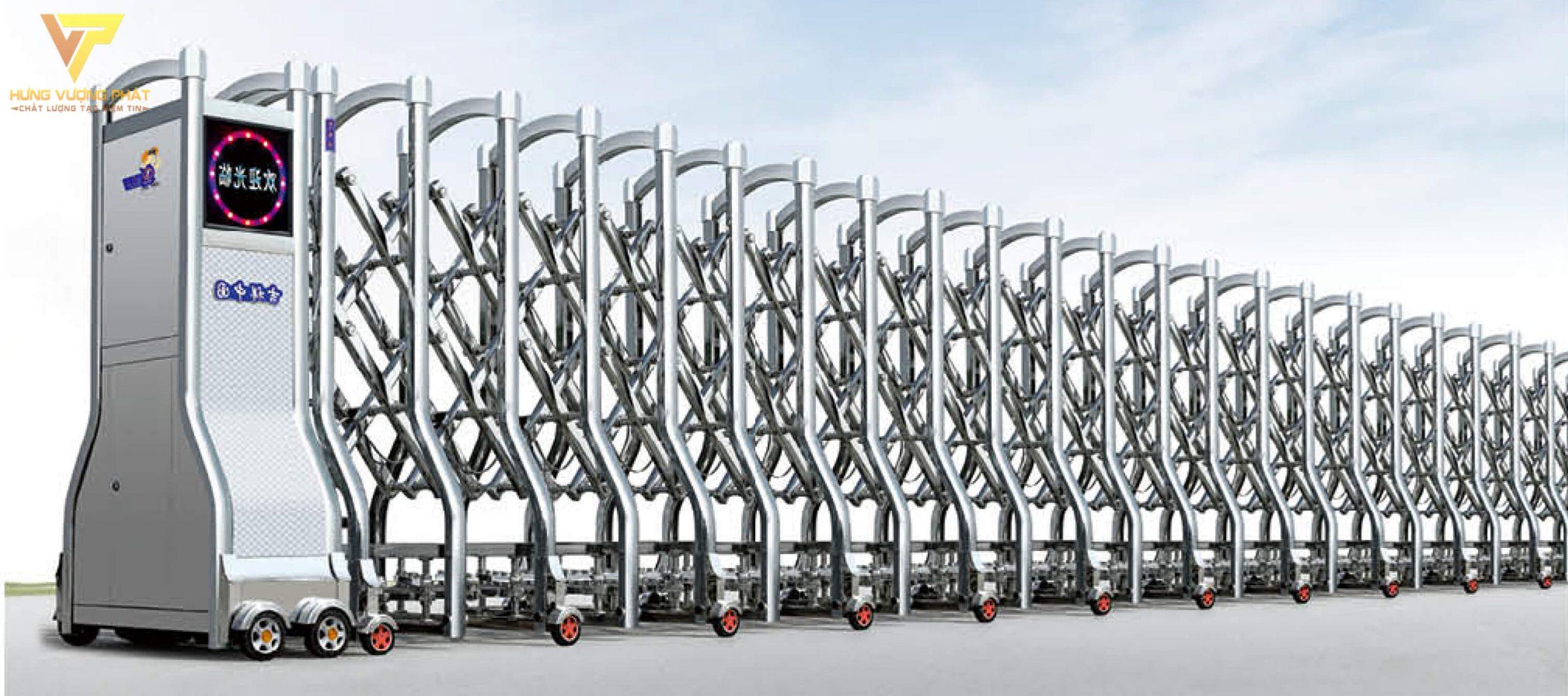Cổng xếp inox chạy điện tự động HI52