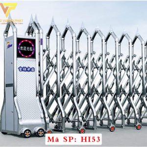 Cổng xếp inox chạy điện tự động HI53