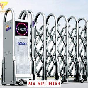 Cổng xếp inox chạy điện tự động HI54