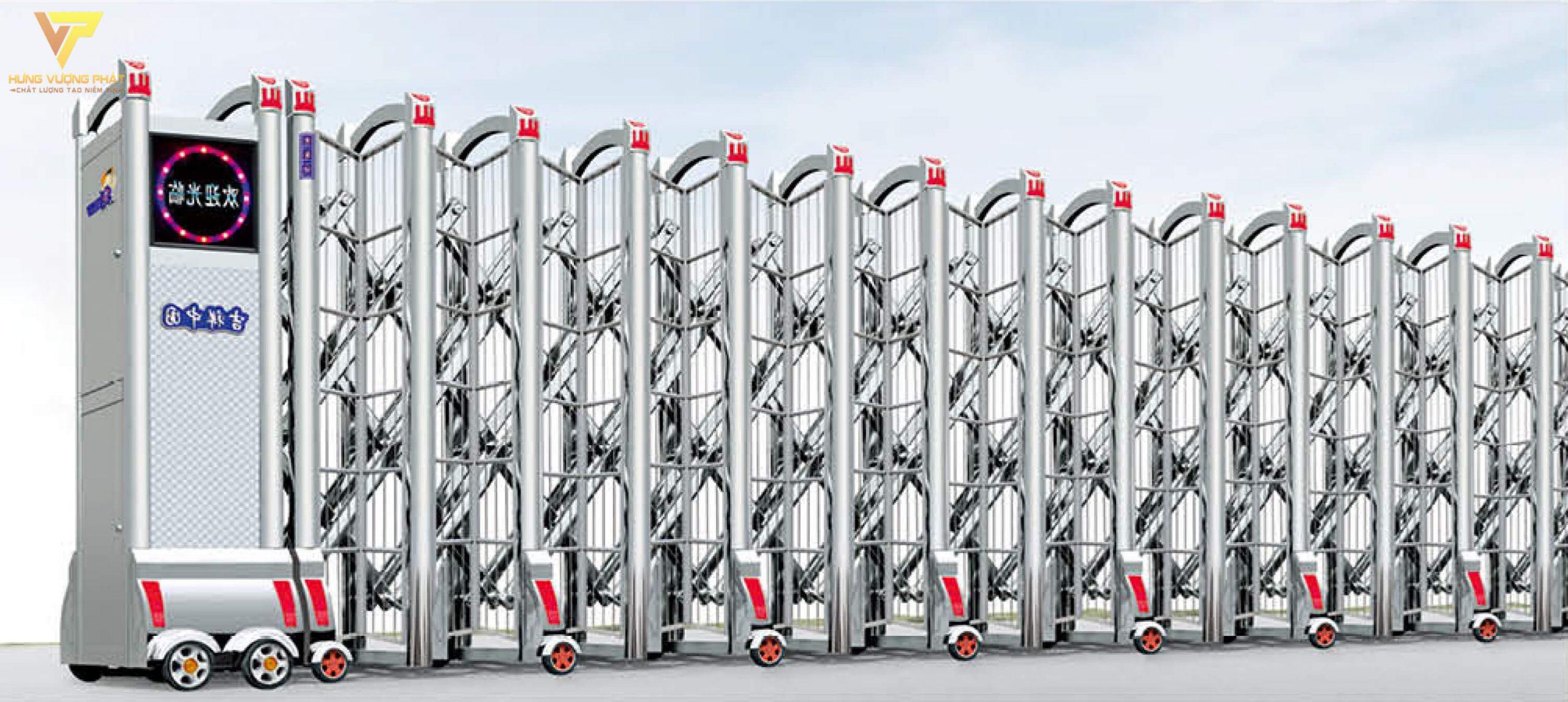 Cổng xếp inox chạy điện tự động HI55