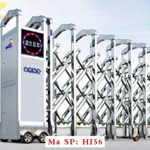 Cổng xếp inox chạy điện tự động HI56