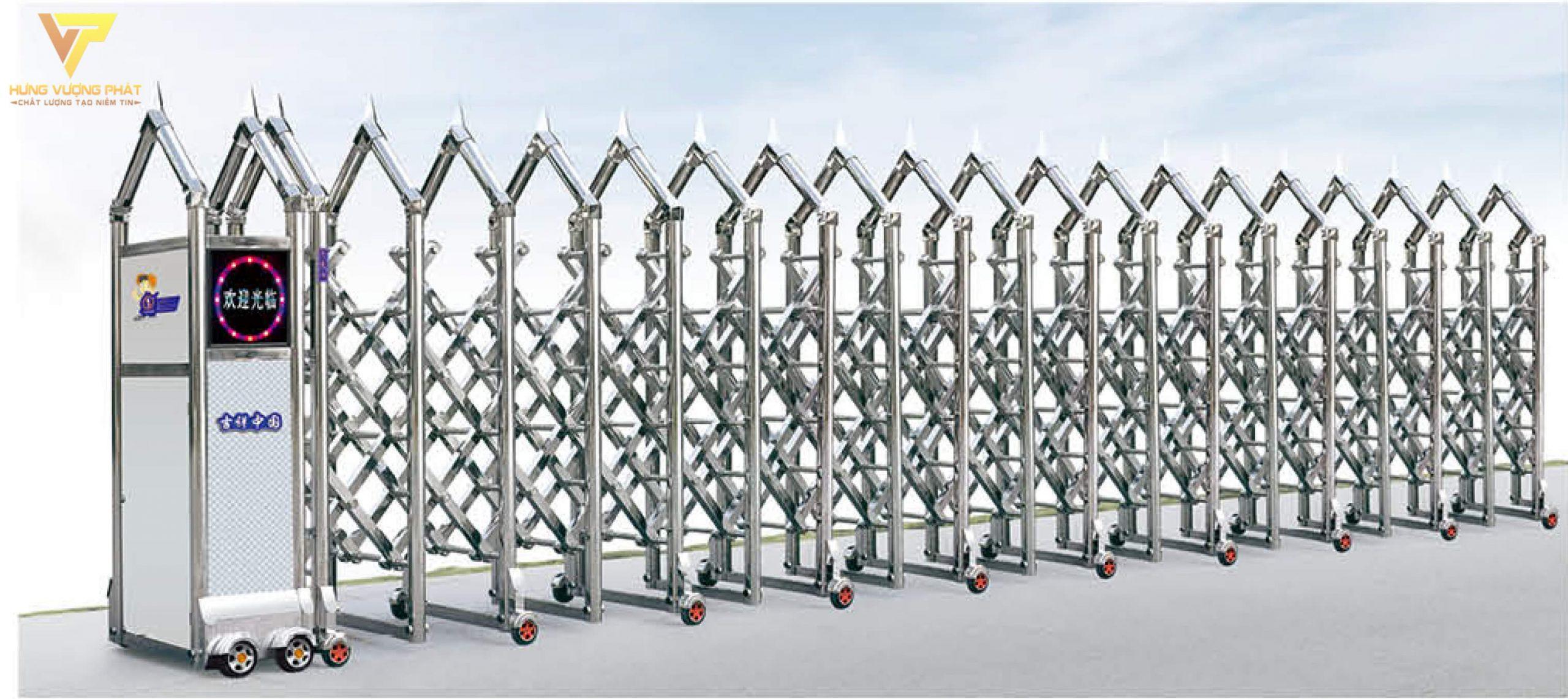 Cổng xếp inox chạy điện tự động HI57