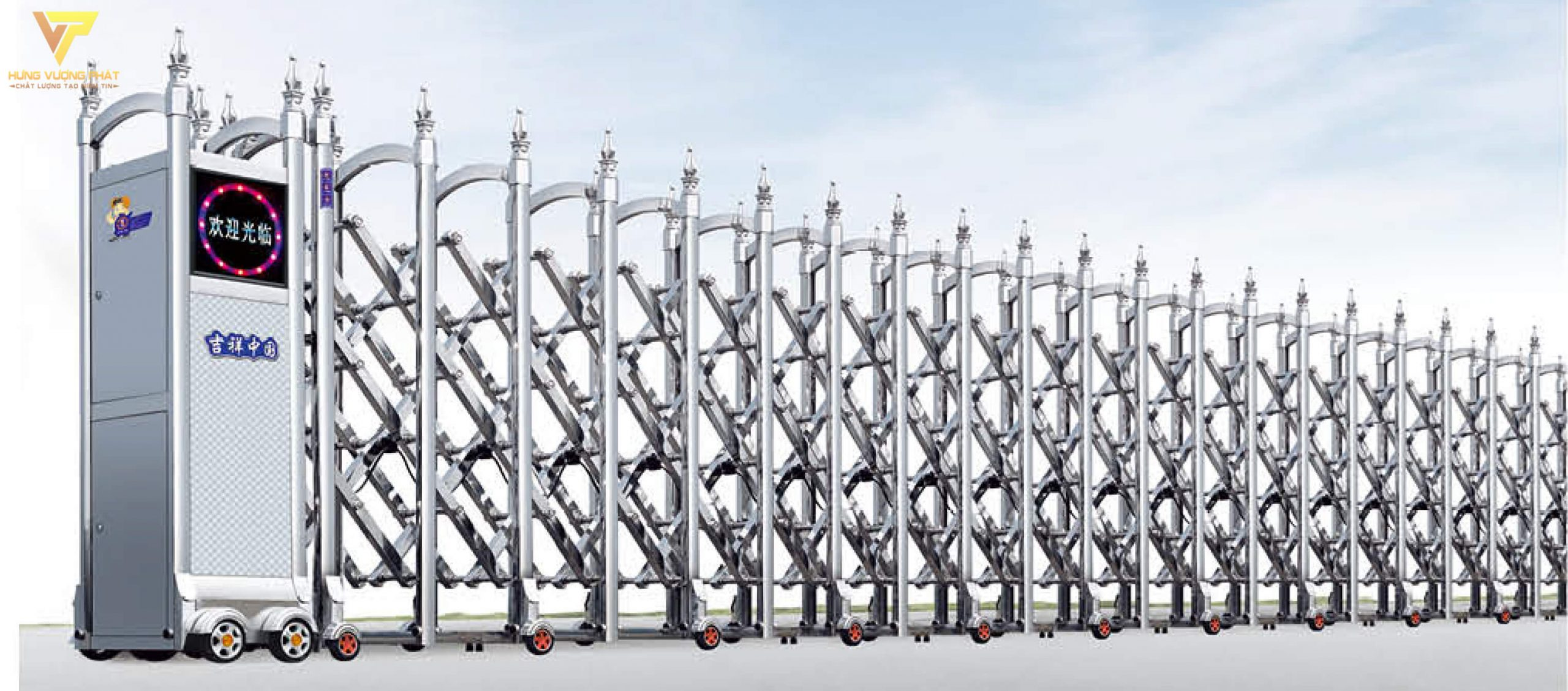 Cổng xếp inox chạy điện tự động HI58