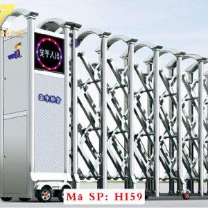 Cổng xếp inox chạy điện tự động HI59