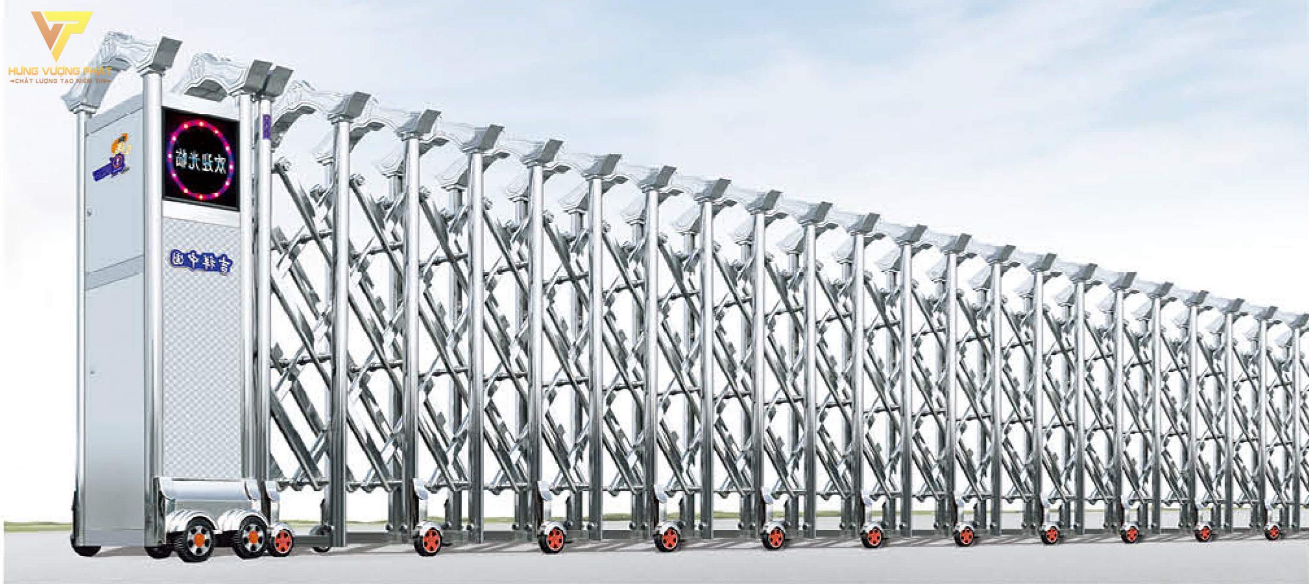 Cổng xếp inox chạy điện tự động HI60