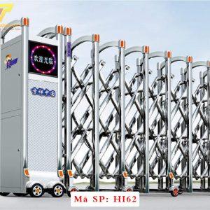 Cổng xếp inox chạy điện tự động HI62