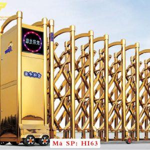 Cổng xếp inox chạy điện tự động HI63