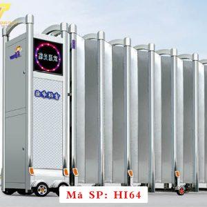 Cổng xếp inox chạy điện tự động HI64