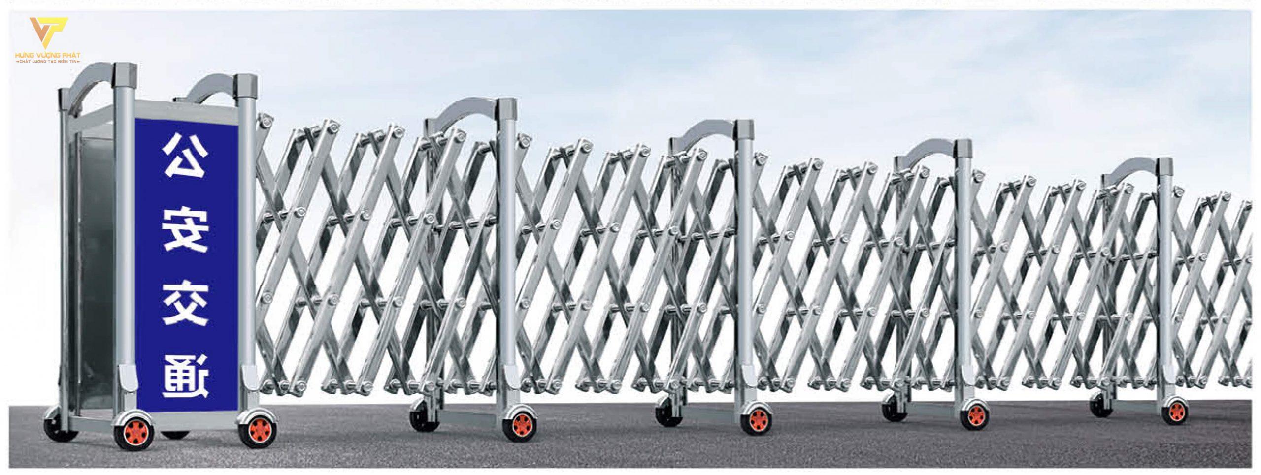Cổng xếp inox chạy điện tự động HI 68