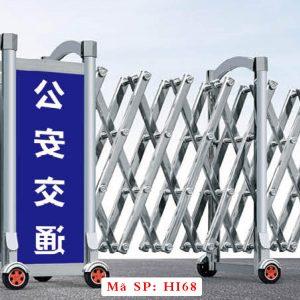 Cổng xếp inox kéo tay HI68