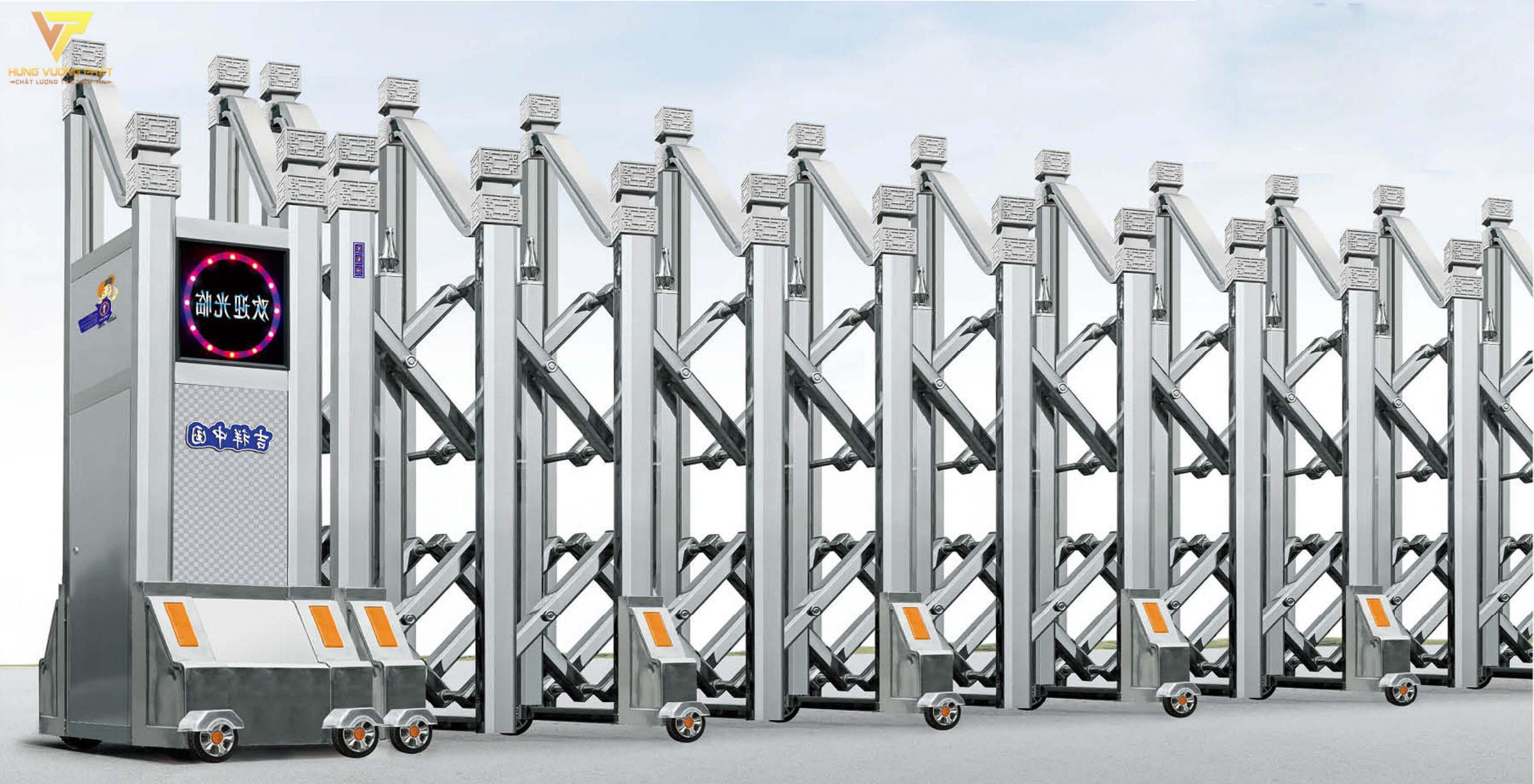 Cổng xếp inox chạy điện tự động HI17