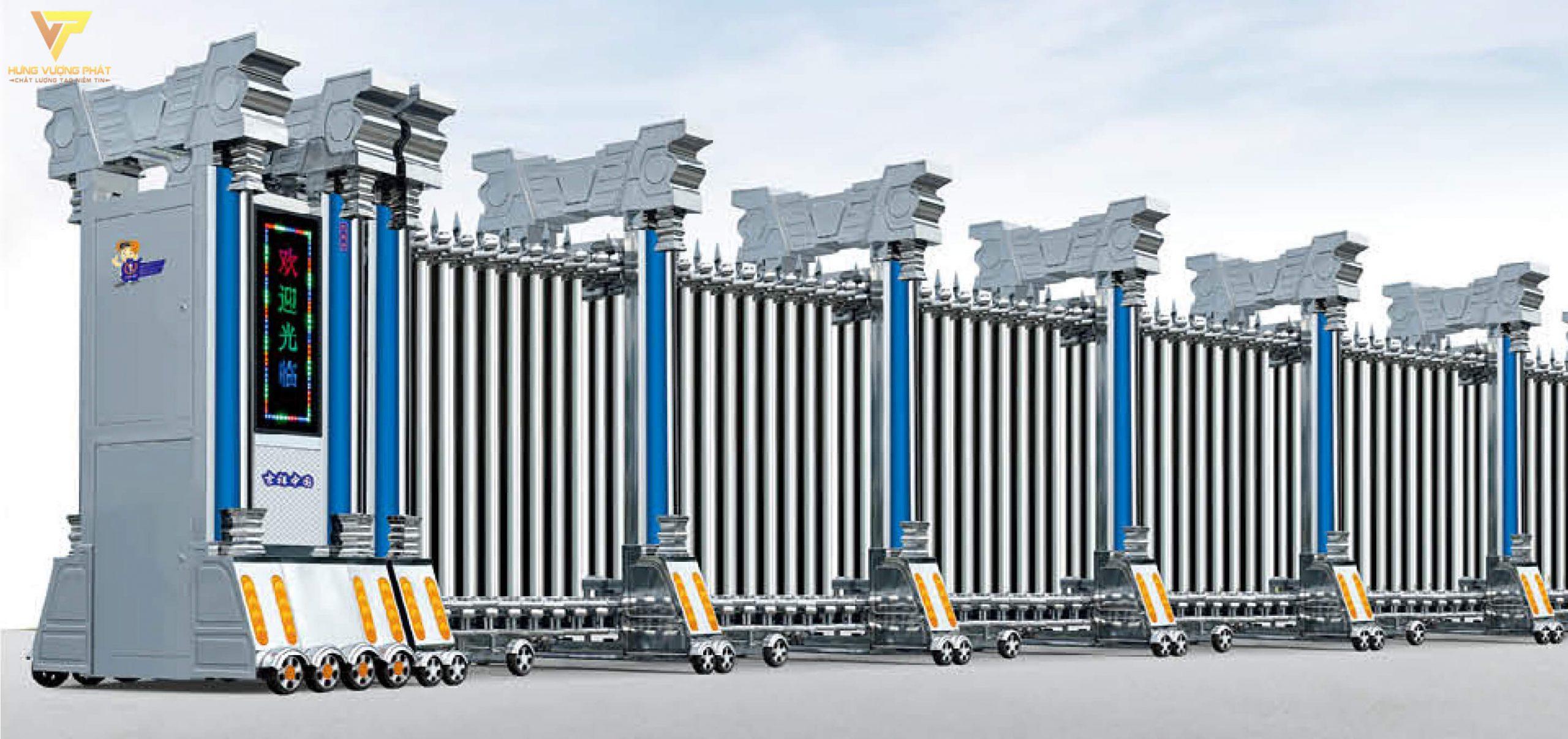 Cổng xếp inox chạy điện tự động HI08