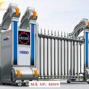Cổng xếp inox chạy điện tự động HI09