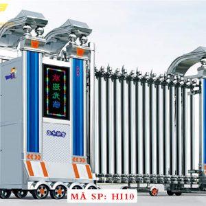 Cổng xếp inox chạy điện tự động HI10