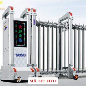 Cổng xếp inox chạy điện tự động HI11