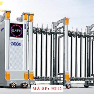 Cổng xếp inox chạy điện tự động HI12