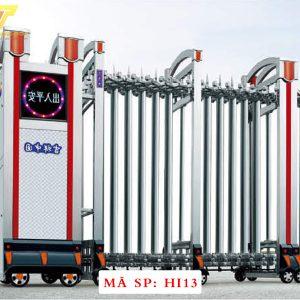 Cổng xếp inox chạy điện tự động HI13