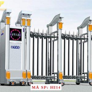 Cổng xếp inox chạy điện tự động HI14