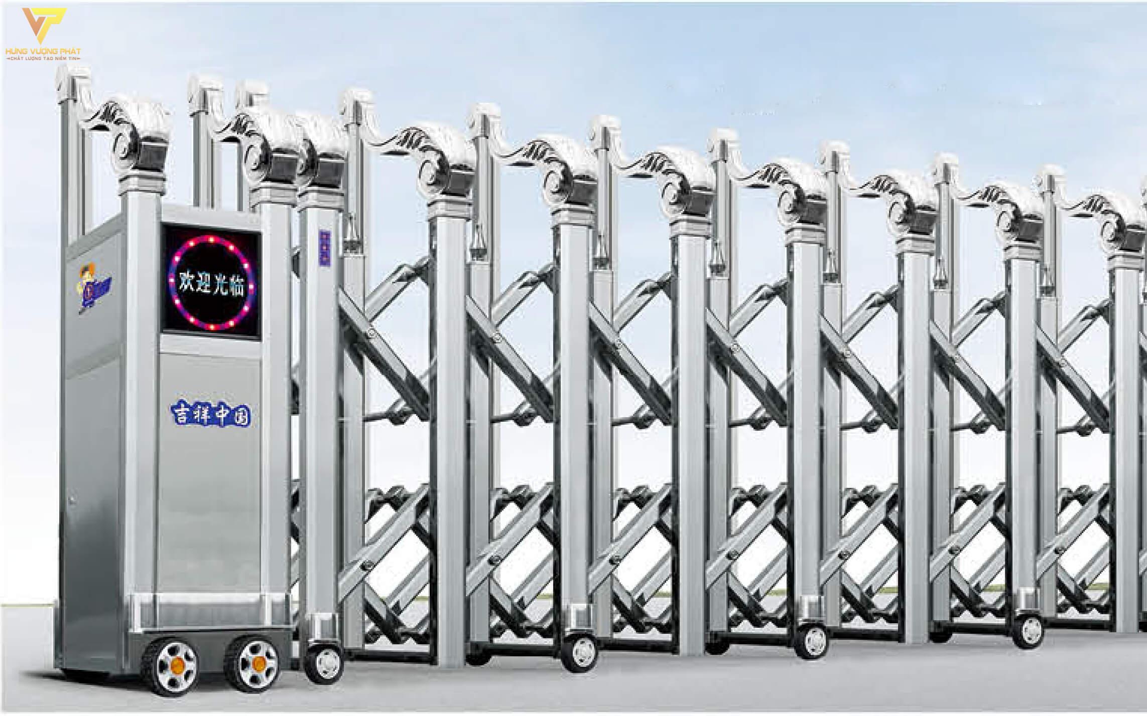 Cổng xếp inox chạy điện tự động HI15