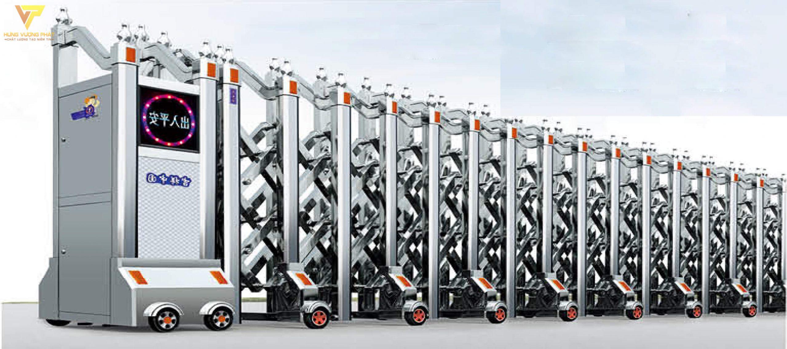 Cổng xếp inox chạy điện tự động HI16
