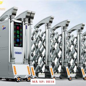 Cổng xếp inox chạy điện tự động HI18