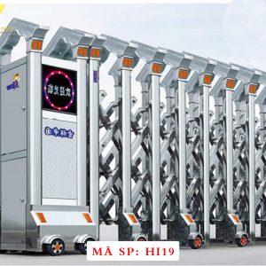 Cổng xếp inox chạy điện tự động HI19
