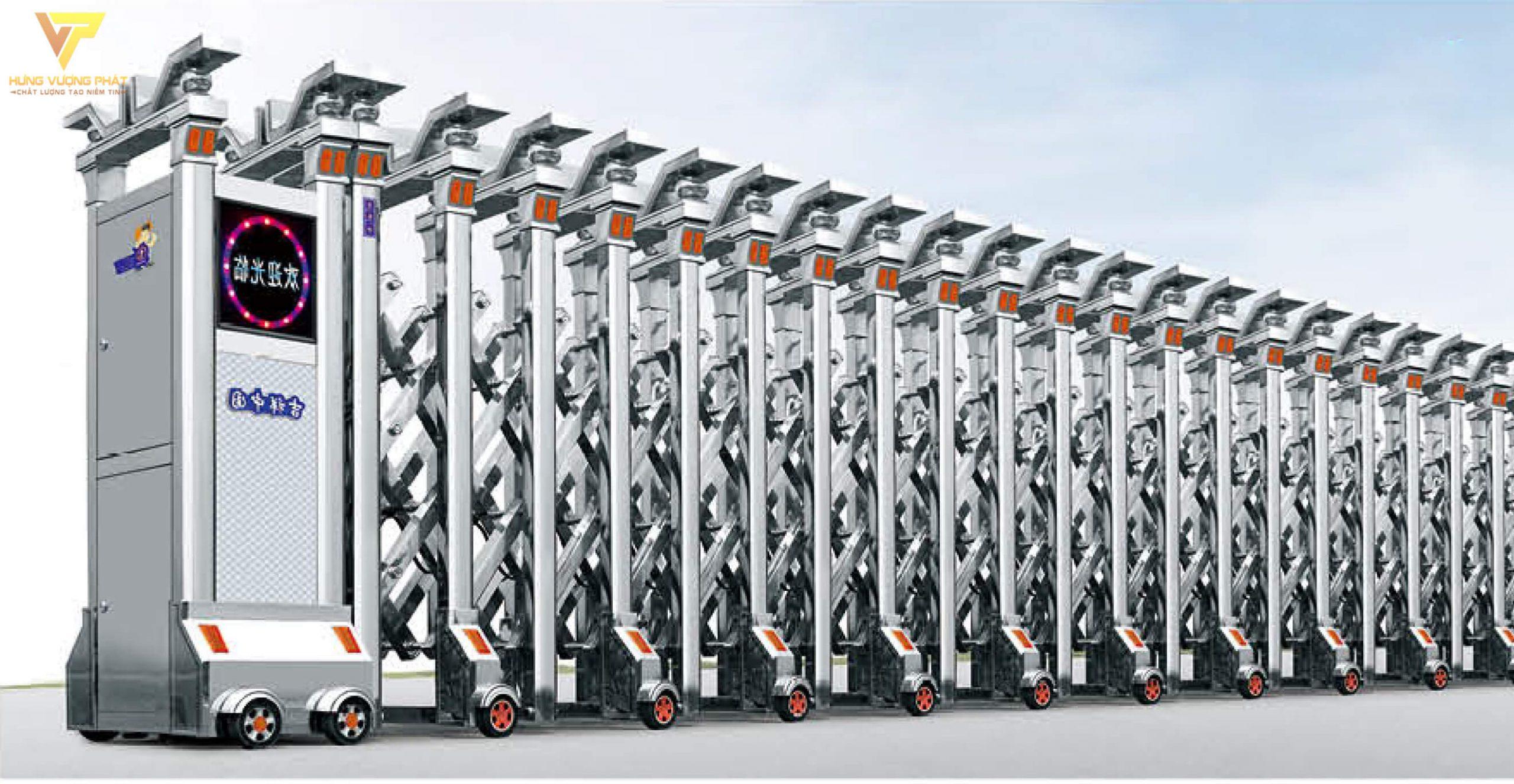 Cổng xếp inox chạy điện tự động HI20
