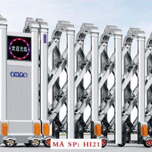 Cổng xếp inox chạy điện tự động HI21