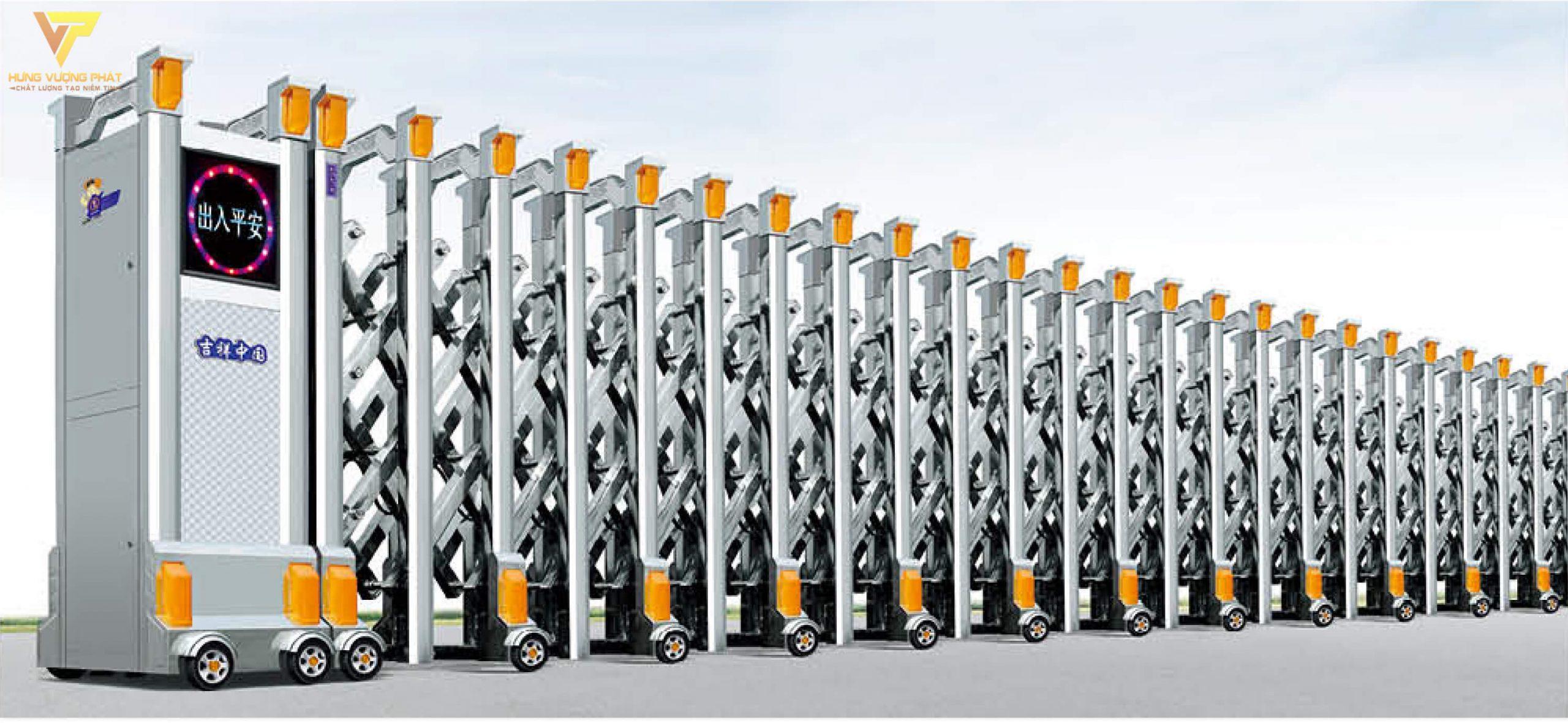Cổng xếp inox chạy điện tự động HI22