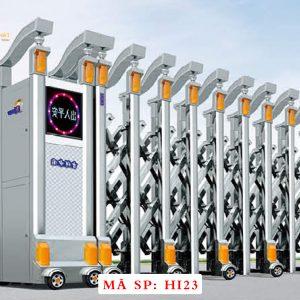 Cổng xếp inox chạy điện tự động HI23