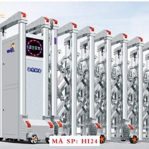 Cổng xếp inox chạy điện tự động HI24